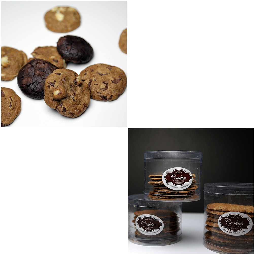 Cookies Unlimited's Crispy Cookies, Soft and Chewy Cookies, and Cookie Cups
