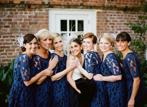 Blue lace bridesmaids dresses