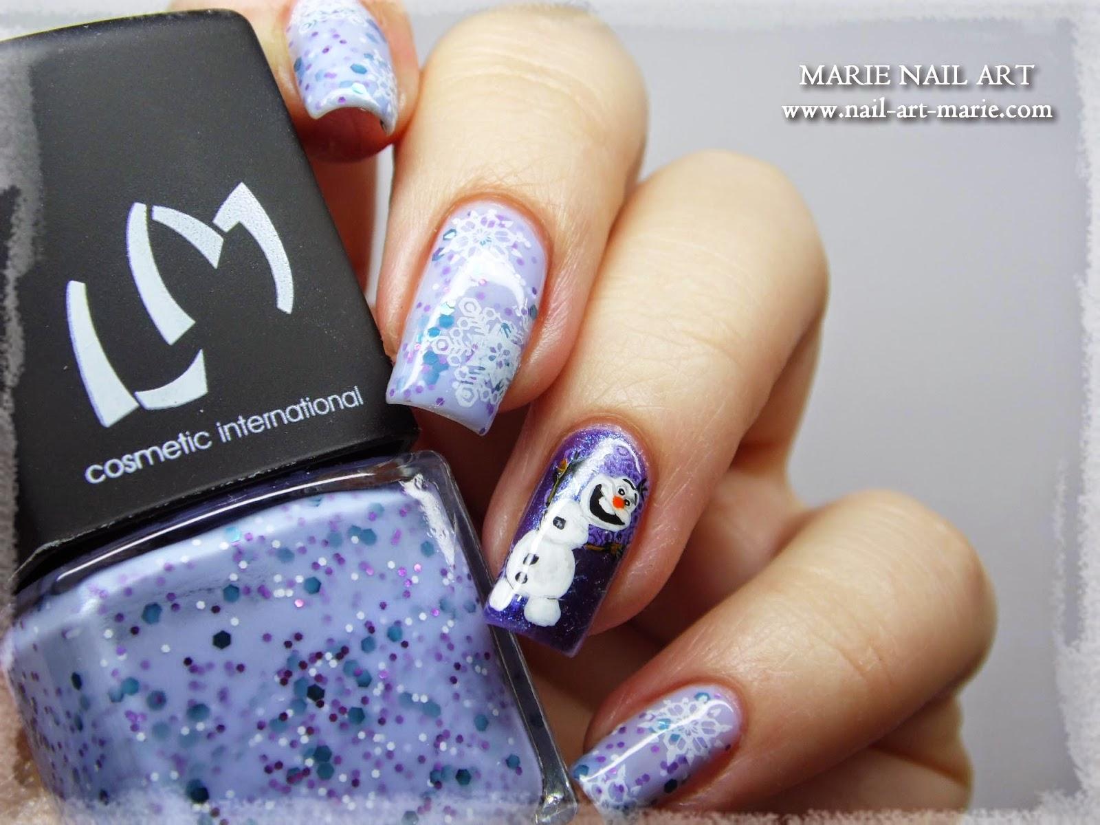 nail art reine des neige Olaf7