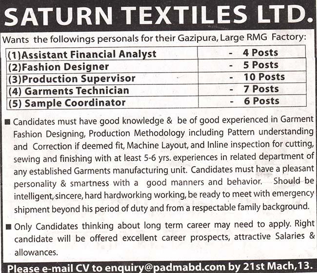 Jobs Barta Saturn Textiles Ltd Jobs Circular Post
