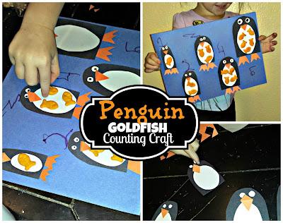 penguin kids craft using goldfish crackers