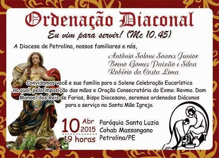 Ordenação diaconal: Antônio Solone, Breno Gomes e Robério Costa
