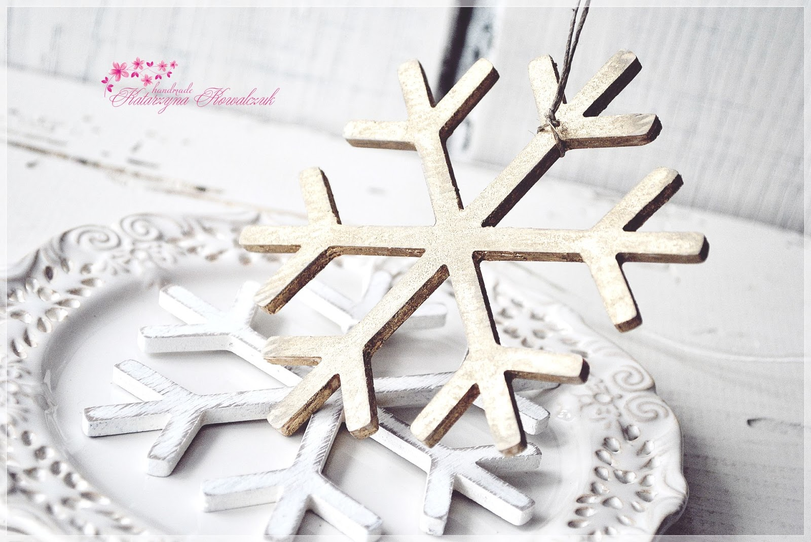 drewno shabby chic śnieżynka