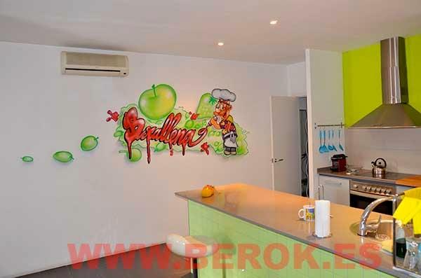 Decoración graffiti interior cocina