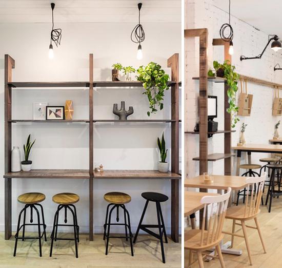 luminaria pendente, decoracao cafeteria, cores pasteis, tons pasteis, madeira, coffee