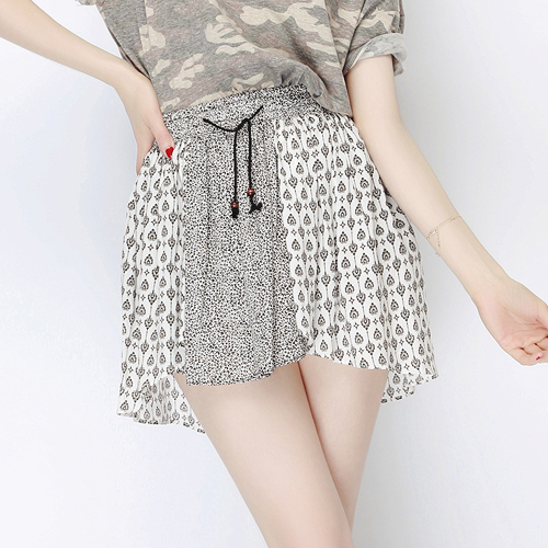 Boho Leopard Print Drawstring Skirt