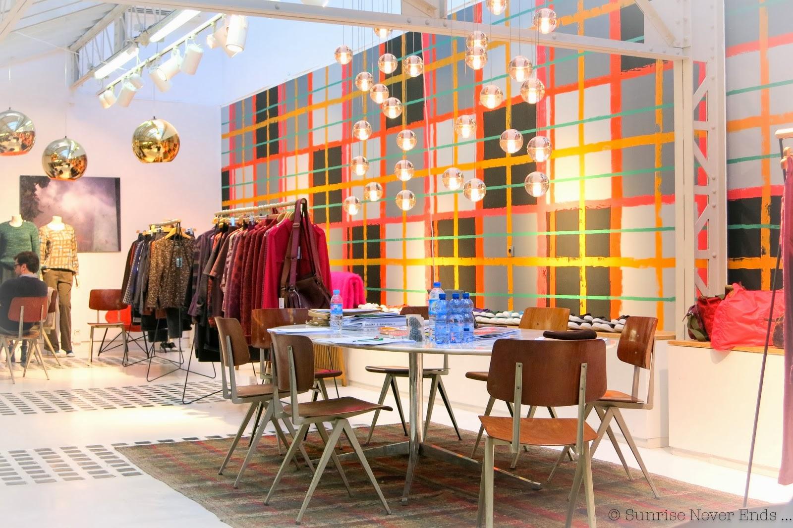 bensimon,show room,paris,hiver 2014,carreaux,tartan,déco,peintures