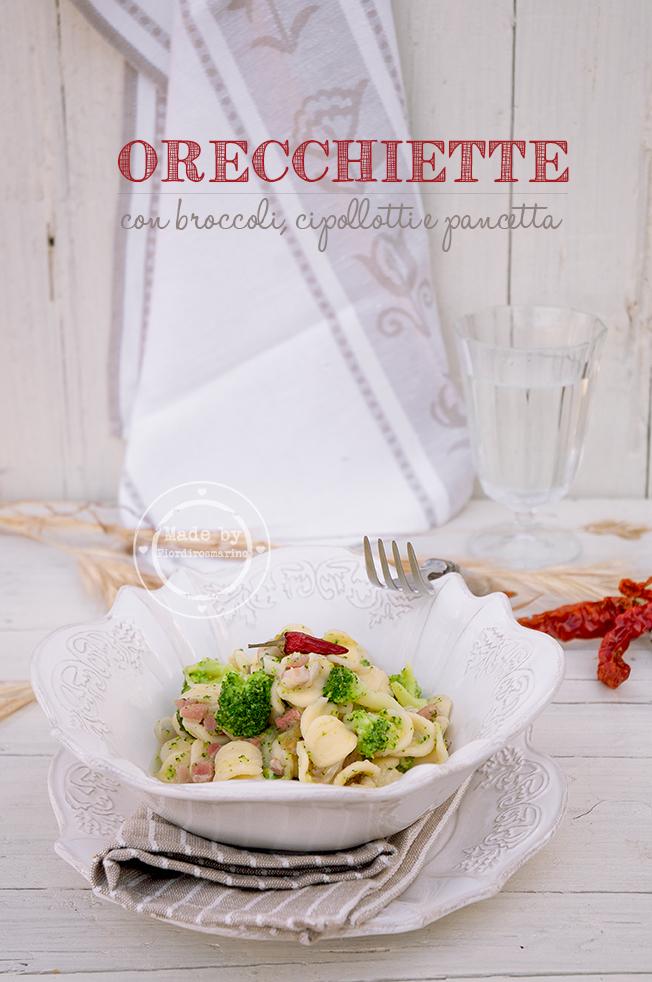 orecchiette con broccoli, cipollotti e pancetta