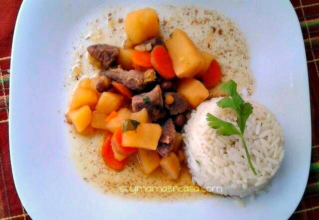receta facil carne de res con gandules