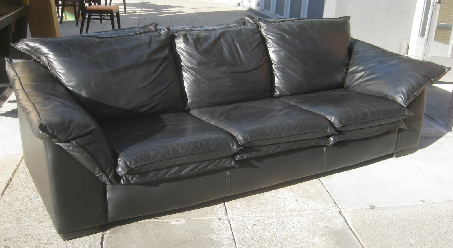 Uhuru furniture collectibles sold black leather sofa for Furniture leather sofa