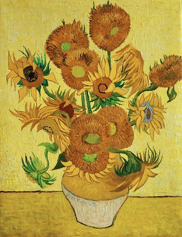 Vaso con quindici girasoli lino spada for Quadri famosi da colorare van gogh