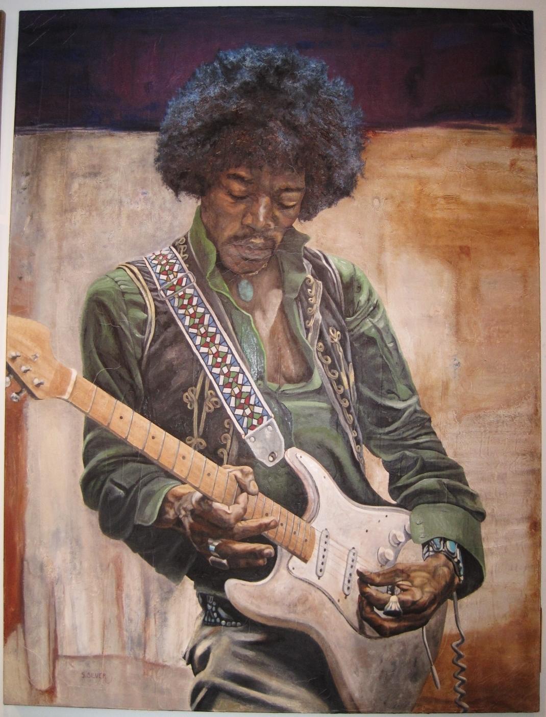 jimi hendrix paintings guitar art stratocaster guitar culture jimi hendrix painting by stanley silver