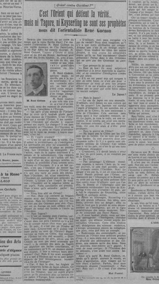 « L'interview de René Guénon publiée dans Comœdia le 14 février 1927