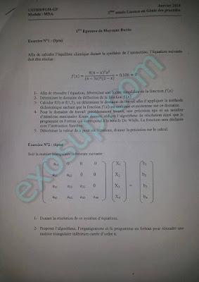 épreuves méthodes numériques appliquées L3 FGM-GP usthb