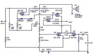 150 watts power amplifier circuit