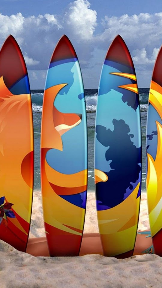 Firefox Surf Boards Beach  Galaxy Note HD Wallpaper