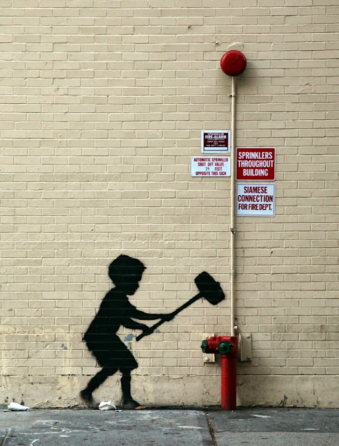 """Boy and Hammer"" New Street Art By Banksy For Better Out Than In. October 20th. 1"