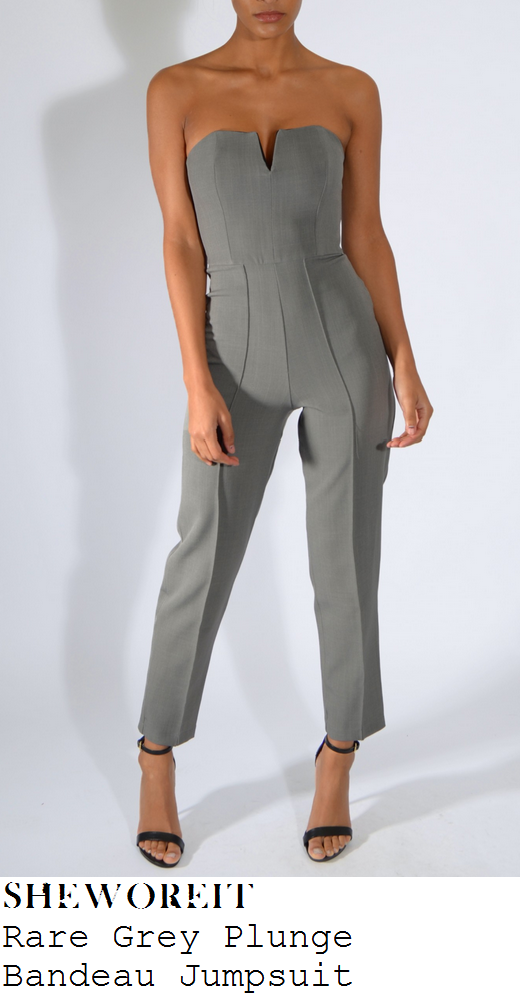 jasmin-walia-grey-strapless-cut-away-plunge-tailored-jumpsuit-sun-bizzare-party