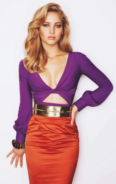Jennifer Lawrence purple orange photoshoot