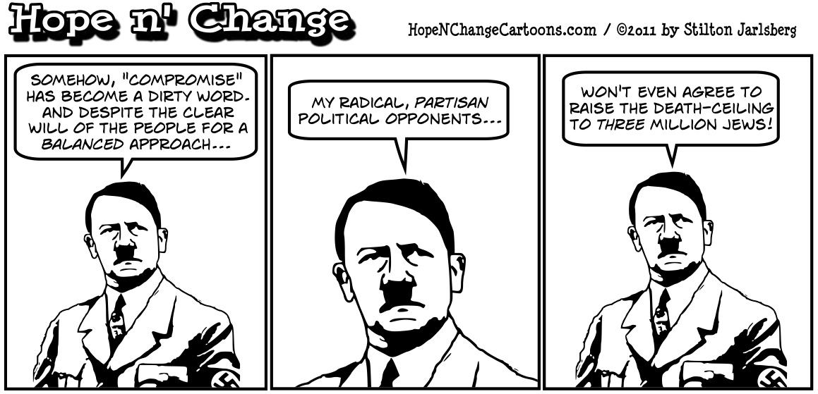 Hitler points out that Obama-style compromise and balance would have resulted in only 3 million dead jews in the holocaust, hopenchange, hope n' change, hope and change, stilton jarlsberg
