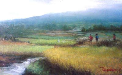 lukisan pemandangan sawah,lukisan sawah,lukisan suasana pemandangan sawah,lukisan panen