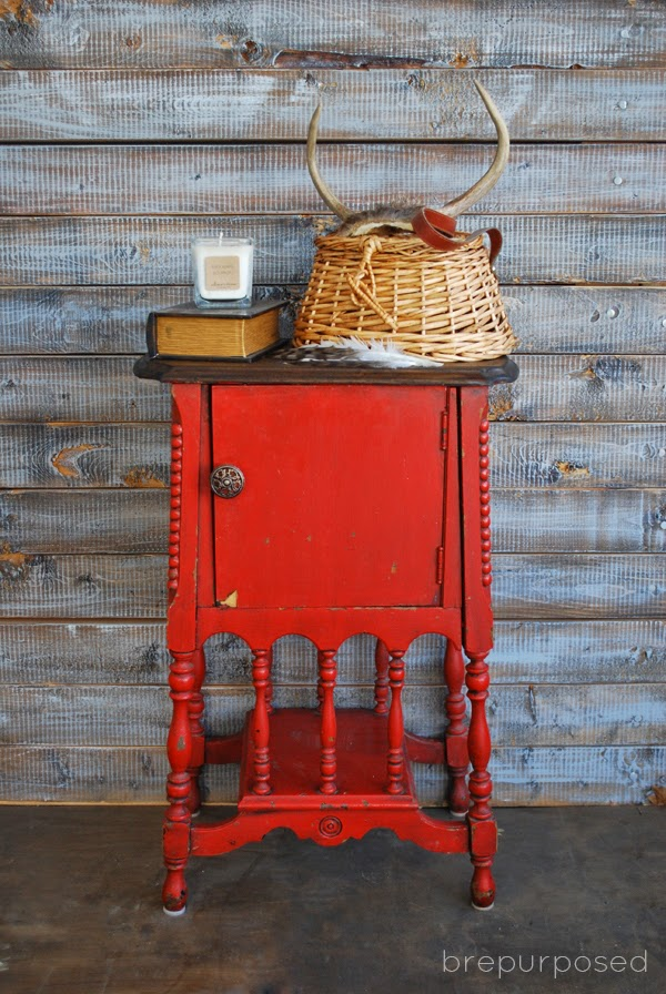 Antique Humidor Table Gets Red Makeover by Brepurposed via Prodigal Pieces www.prodigalpieces.com #prodgalpieces
