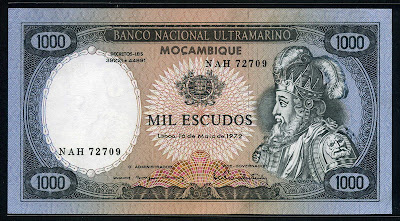 Mozambique currency 1000 Escudos banknote