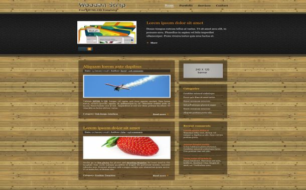 Free wooden strip black css website template free html business company css template friedricerecipe Image collections