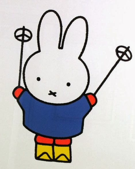 Dik Bruna illustration of Nijntje or Miffy on ski