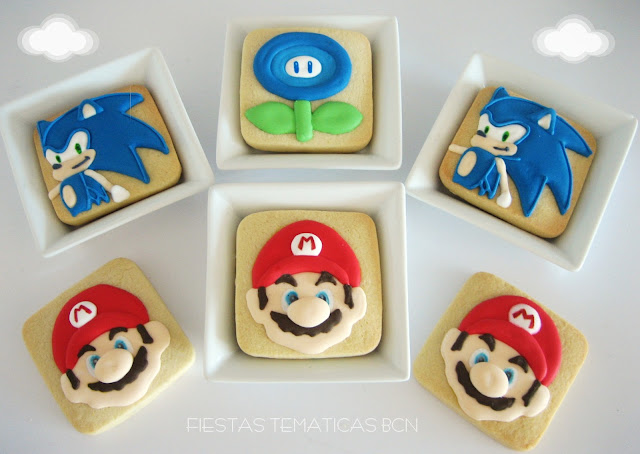 galletas con glasa mario y sonic