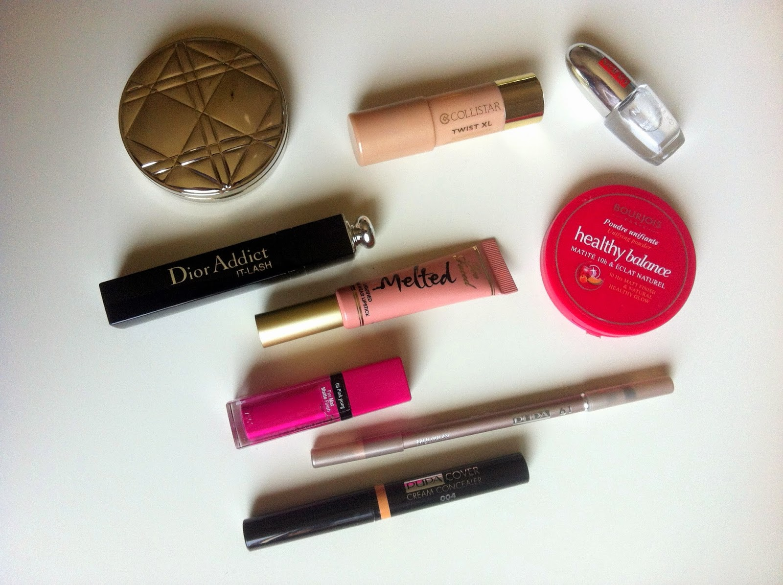 dior it lash mascara, bourjois rouge velvet edition, pupa cover cream concealer, pupa multiplay, pupa nail care 7 in 1, collistar twist xl illuminante, bourjois healthy balance compact powder, too faced melted, diorskin nude tan matte