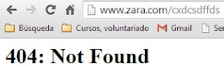 "Mensaje de error ""not found"" en la web de Zara, Inditex"