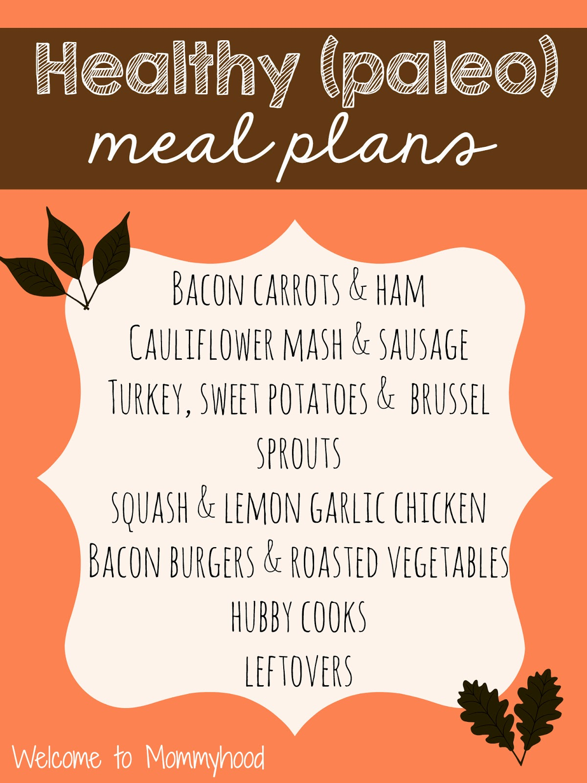 Healthy meal plans: paleo {Welcome to Mommyhood} #paleo, #healthymealplans
