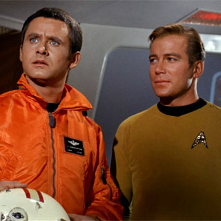 "Roger Perry with William Shatner in ""Star Trek"" episode, ""Tomorrow is Yesterday"""