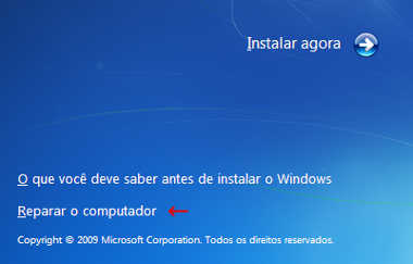 Falta BootMsg do Windows - reparar windows