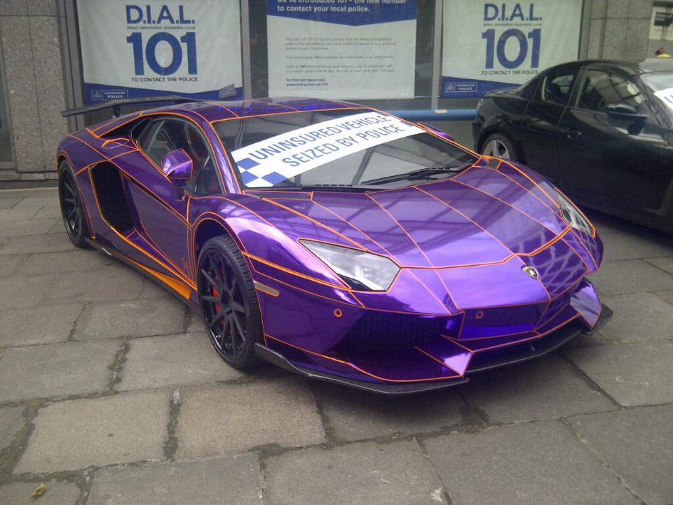 Carmistakes Seized Purple Chrome Lamborghini Aventador In London