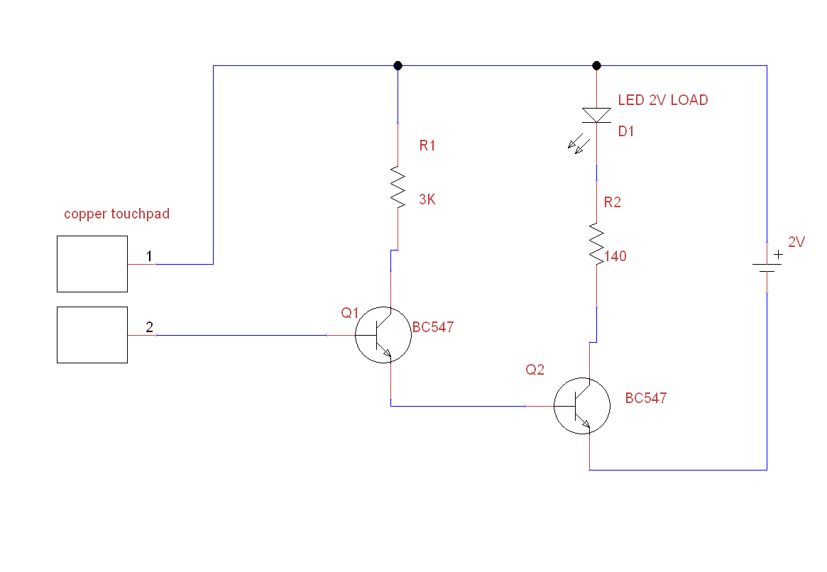 Make a simple touch switch using BC547 for LED, RELAY,BUZZER ...