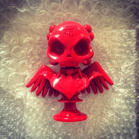 """Shiny Red"" Skullhead 6"" Resin Bust by Huck Gee"