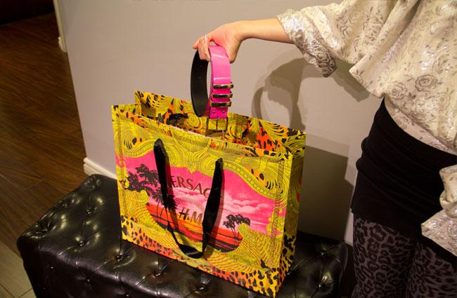 Versace for H&M, Versace for H&M signature print skirt, Versace for H&M skirt, Versace for H&M shopping bag, Cheeta print skirt