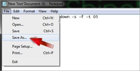 create shutdown shortcut option