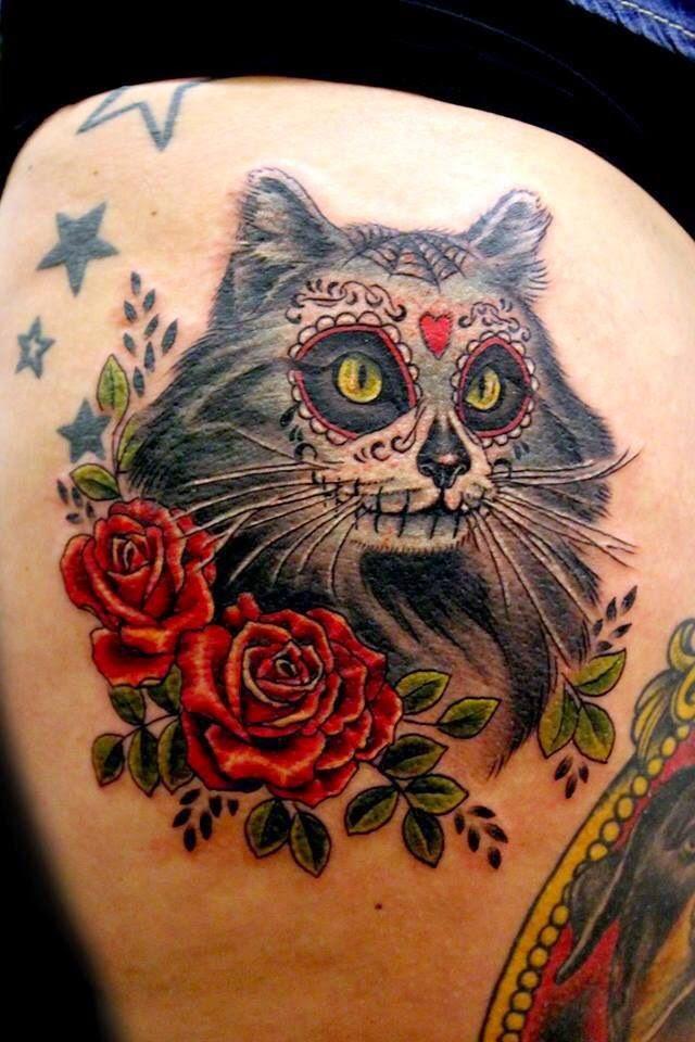 ♥ ♫ ♥ Sugar Skull Cute Cat Tattoo ♥ ♫ ♥