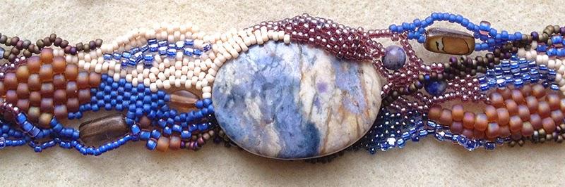 detail, Winter Blues freeform peyote bracelet by Karen Williams