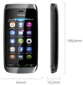 Dimensi Nokia Asha 309