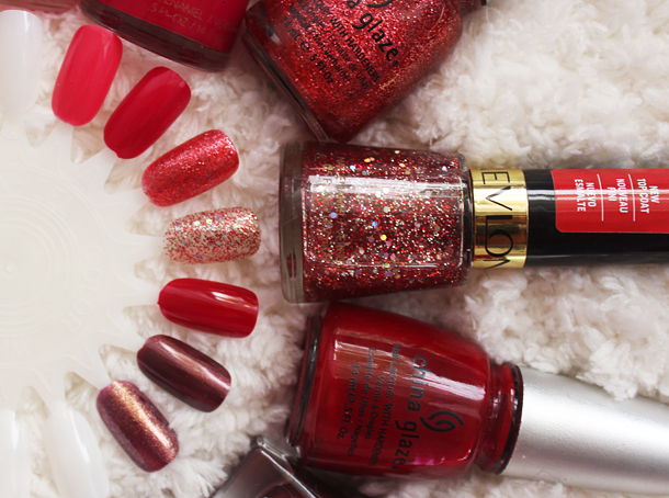 red holiday nail polish swatch review revlon china glaze orly cherries slippers phat santa