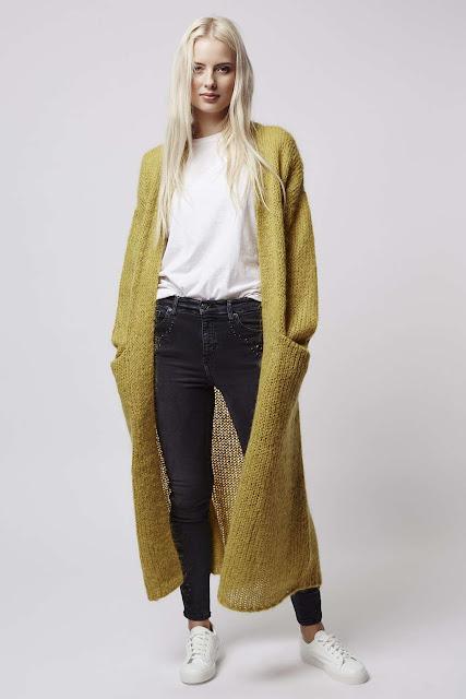 yellow maxi cardigan, yellow long length cardigan, mustard maxi cardigan, tosphop mustard cardigan,