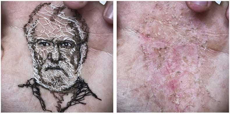 Artista cose retratos de su familia y amigos en la palma de su mano