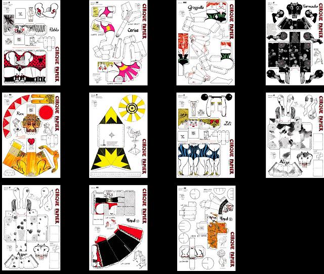 les modèles du Cirque Papier de Brigitte Rio