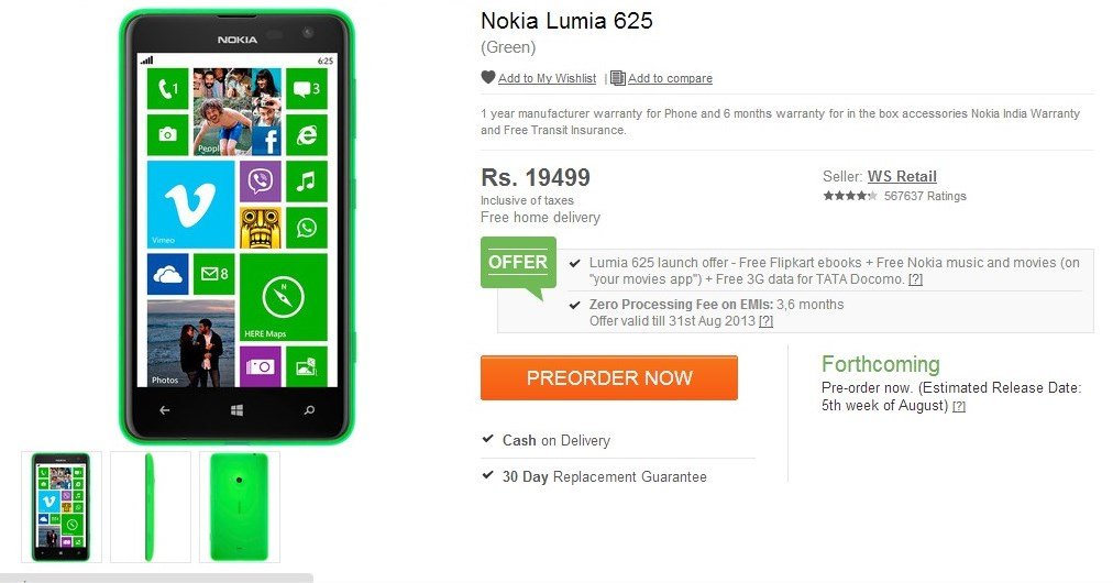 Nokia Lumia 625 Up For Pre-Order In India