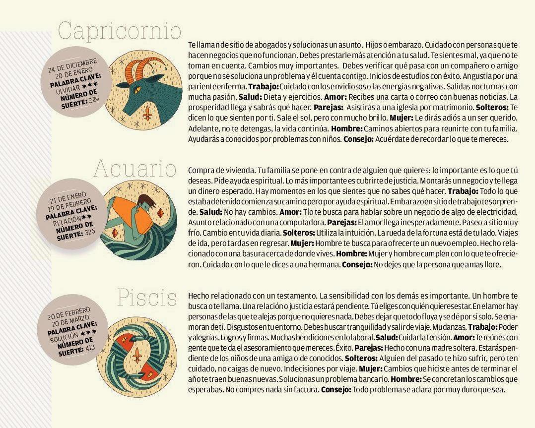 ... , Acuario, Piscis del 2 al 8 de febrero de 2014 Adriana Azzi Sedes