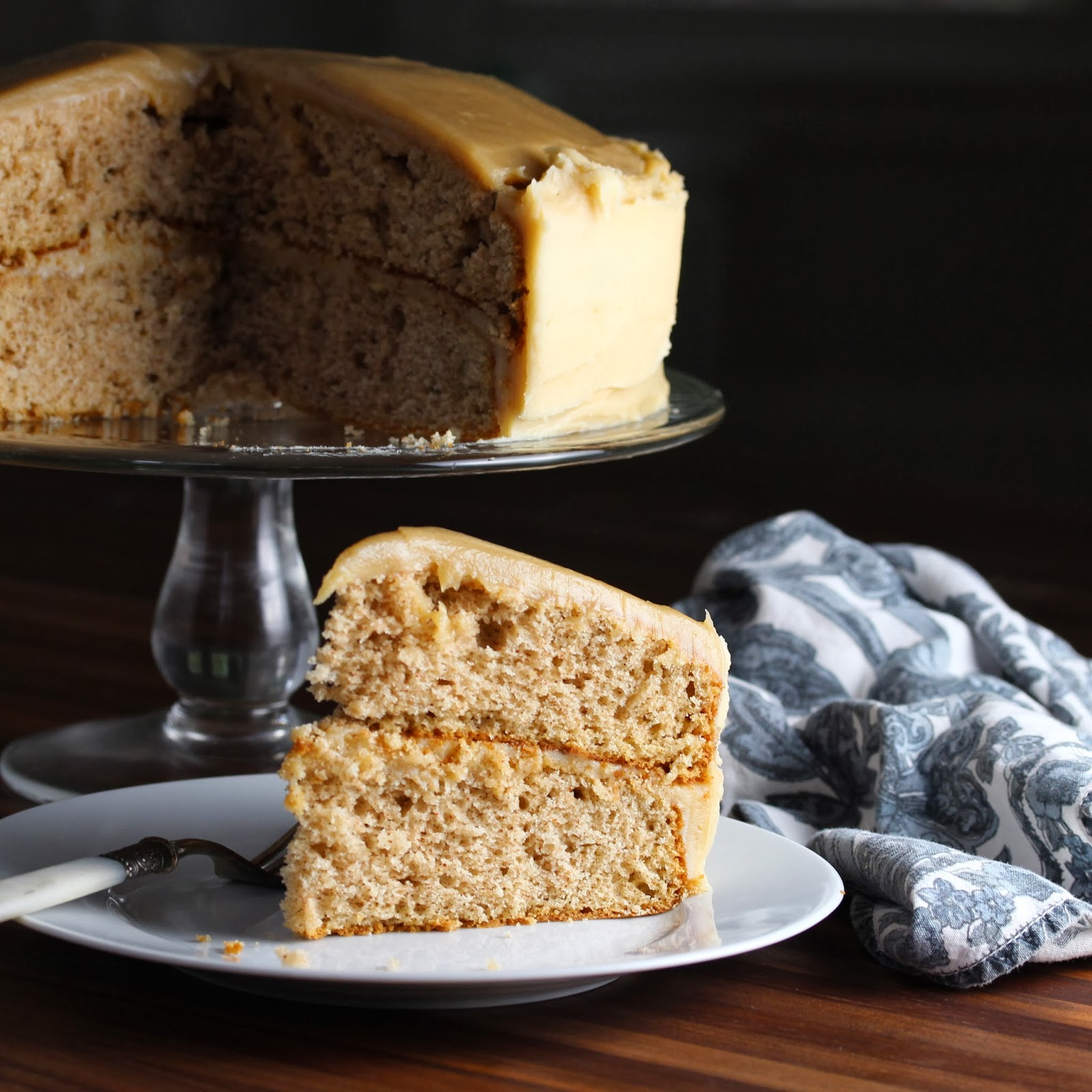Spice Cake with Caramel Cream Cheese Frosting | CrunchyGooey